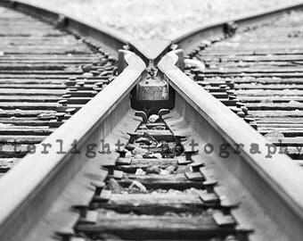 Train Tracks Photograph, Black & White Photo, Wall Art, Photo,
