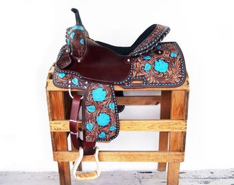"16"" Handmade Western Barrel Trail Turquoise Buckstitch Floral Tooled Leather Saddle"