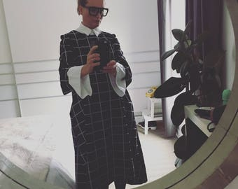 Black and white grid jersey dress lagen look