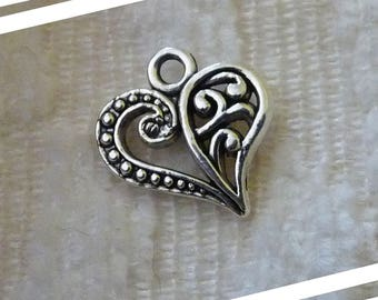 Heart Charms, Love Charms, Bracelet Charms, Necklace Pendants Charms, Double Sided Heart Charms