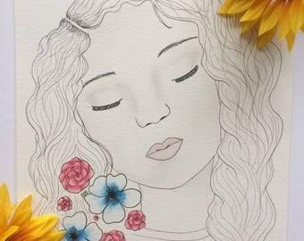 Thinking Girl, Girl Illustration  -Froggieflor