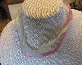 Vintage Pink Blue Green Ribbon Choker Necklace