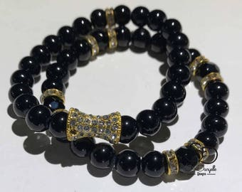 8mm Black Glass Beaded Bracelet set with Gold plated crystal accents