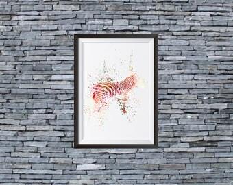 Zebra Watercolor Print - Watercolor Painting  - Art Illustration - Wall Art - Home Decor