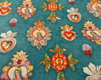Virgin of Guadalupe Fabric Teal Virgin Guadalupe Fabric Mexican Fabric Catholic Religious Fabric Quincenera