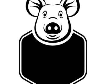 Chef Logo #2 Pork Grill Grilling Meat Pig Pork Barbecue Butcher Cooking Cook Out BBQ Food Restaurant .SVG .EPS Vector Cricut Cut Cutting