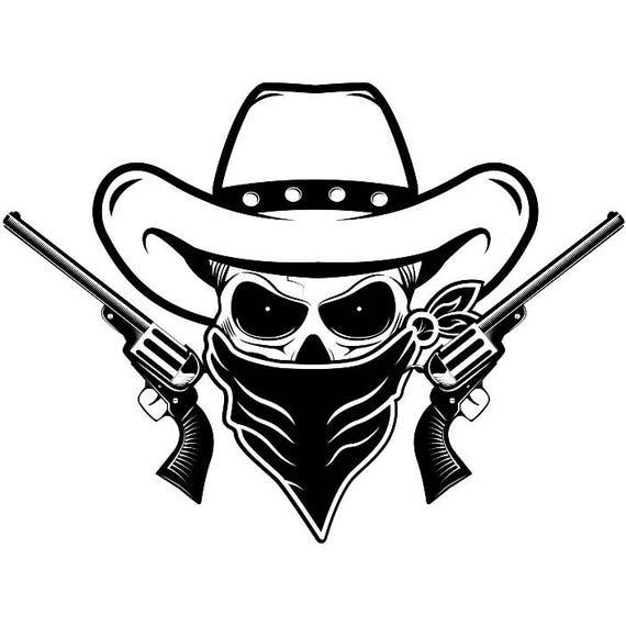 cowboy logo 26 skull guns mask outlaw scarf hat country