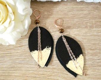 Black Leather  Earrings, long earrings, bohemian earrings,Boho jewelry. Leather jewelry