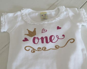 Size 12 month Ruffled infant bodysuit with Gold and Pink Glitter HTV One with hearts and crown, First Birthday Shirt