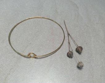 Bracelets, circle design, silver plated 24 ct