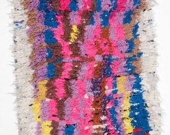 Boucherouite rug | Boucherouite | rag rug | berber rug | teppich | geometric rugs | Moroccan rug | colorful rug H79