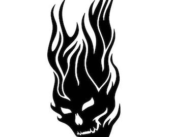 Fire Skull Decal Etsy