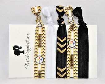 Steelers Hair Ties, Pittsburgh Steelers, Football, Gold, Elastic Hair Ties, Handmade, Elastic Ribbon, Ponytail Holder, Knotted Hair Ties