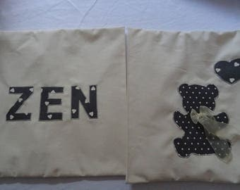 set of 2 cushion covers 40 X 40 applications zen and teddy bear
