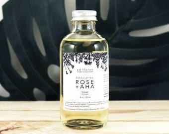 Exfoliating Toner: ROSE + AHA - light, gentle chemical exfoliant for face, facial care, exfoliating aha face toner