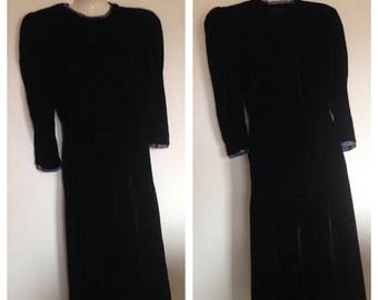 On Sale Lovely  1940's Vintage Navy Blue Velvet Dress