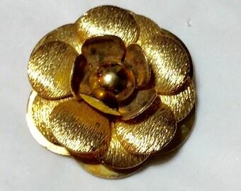 Vintage Goldtone Rose Scarf Clip