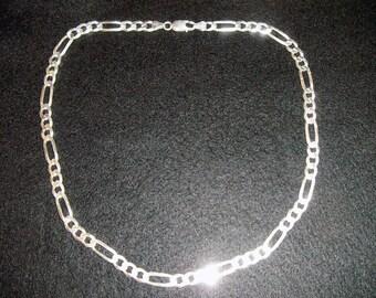 925 Silver chain, Silver Figaro chain, Mens  Silver Jewellery,