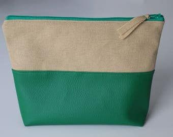 Kit, cover green leatherette and cotton linen canvas
