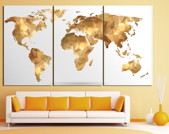 Golden map wall art. gorl world map canvas, golden world map print, geometric gold map print, gold map print Large gold world map  wall art