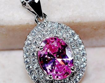 2CT Pink Sapphire & Topaz 925 Solid Genuine Sterling Silver Pendant