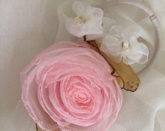 Organza roses Flower elastics hair ties girl's hair tie Singed flowers
