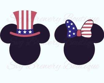 Iron on decal minnie mickey Fourth of July