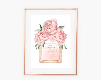 Chanel No 5 Perfume Bottle Blush Pink Peonies Faux Gold Art Print - Instant Digital Download