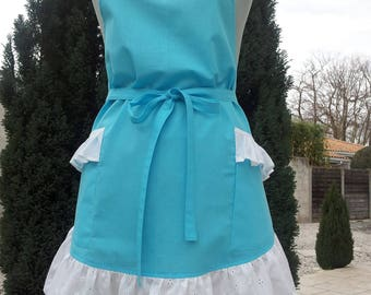 A beautiful MOM gift / party or birthday/this is the turquoise with white broderie anglaise with ruffle bib apron