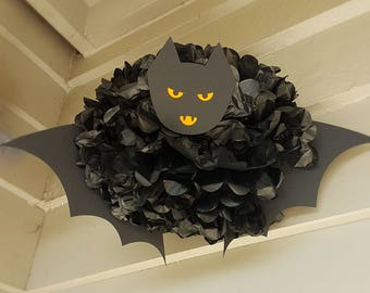 Halloween decoration Bat/Halloween Party Supplies/Vampire decor tissue paper pom pom/Vampire Black Bat Pompom