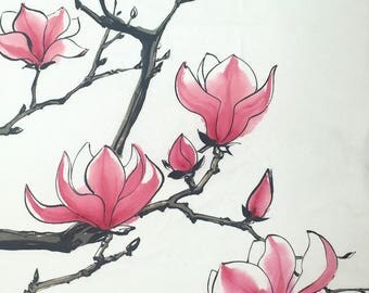 Chinese Painting, Magnolia blossom, Ink Painting, Original artwork.