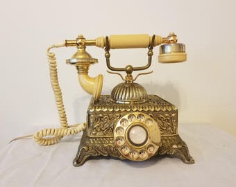 ON SALE, Vintage Phone, Brass Phone, Rotary Dial Phone, Dial Phone, Victorian Phone, Antique Phone, Gold Phone, French Phone, Stationary
