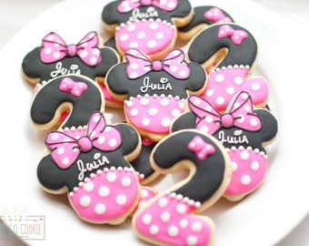 Pink mouse sugar cookies (one dozen) // ears // birthday favors // free personalization