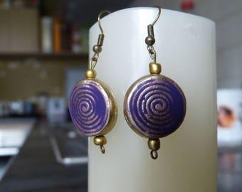 Purple spiral vintage Pearl Earrings