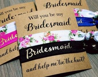 Will You Be My Bridesmaid and Help Me Tie The Knot Hair Tie Favor | Bridesmaid Proposal | Will You Help Me Tie The Knot | Bridesmaid Gift