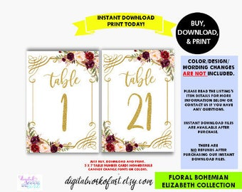 Wedding Table Numbers, Printable Table Numbers, Numbers 1-40, Boho Chic Wedding Decor, Floral Table Numbers, 5x7, Banquet Table Numbers, #LC