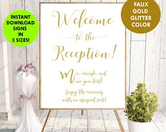Welcome to Our Reception Sign, Wedding Sign, Welcome Wedding Sign,Wedding Signs Printables PDF Instant Download, mix and mingle, #SG