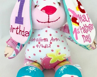 Keepsake Stuffed Bunny made out of your favorite old clothes or your baby's blankets or PJ's