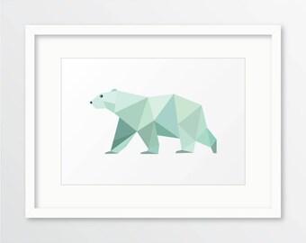 Polar bear print, polar bear nursery print, geometric polar bear, geometric bear, bear wall art, bear nursery art, teal wall art, polar bear