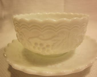 Vintage milk glass mayonnaise bowl with underplate, milk glass bowl and saucer, paneled grape pattern