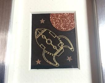 Rocket Ship! - hand printed