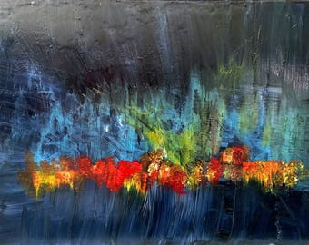 Aurora abstract palette knife painting