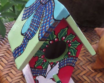 Winter Dove hand painted small bird house ornament