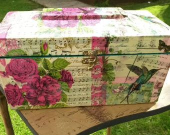Antique tea caddy,circa 1880,sarcophagus,upcycled,jewelry chest,antique jewellery box,decoupage, humming bird,roses,pink,antique box,music