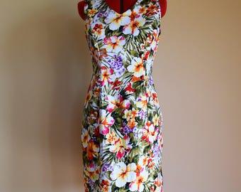 Tropical Dress / Pencil Dress / Floral Dress / Shift Dress