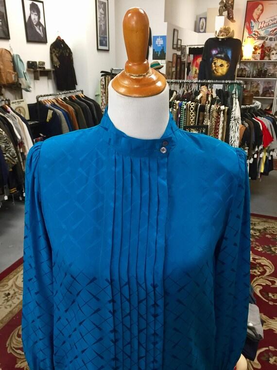 Vintage 1980s Blue Silk Blouse by Patite