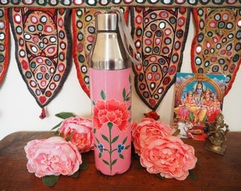 Hand Painted Kashmir Enamelware Gypsy Hippie Shabby Chic Floral Glamping Camping Gym Water Bottle