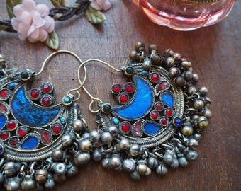 SALE Beautiful Pair Chunky Vintage Afghan Hippie Boho Kuchi Ethnic Tribal Fusion Banjara Festival Indie Cresent Moon Earrings