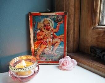 Beautiful Vintage Antique Hindu Hanuman Indian God Goddess Framed Holy Devotional Puja Print Shrine Picture Art Lithograph