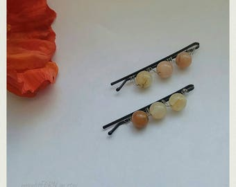 Yellow jade gemstone hair pins. Handmade wire wrapped Natural Gemstone bead hair accessories. Unique handmade beautiful. Gemstone bobby pin